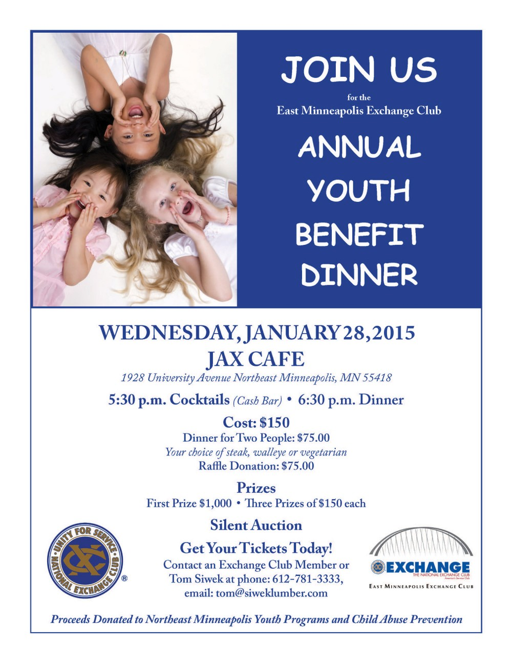 Youth Benefit Dinner Flyer